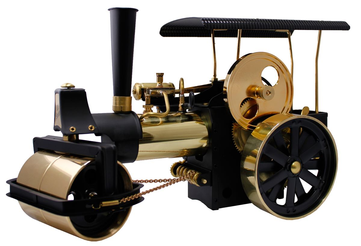 Brass Steam Roller Showing Roller and Flywheel